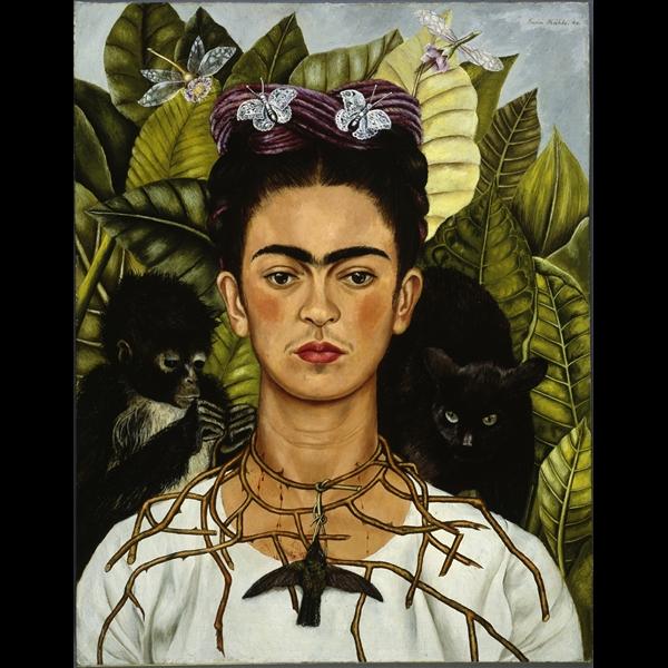 Frida Kahlo - Autoritratto con collana di spine e colibrì - 1940, olio su lamina metallica
