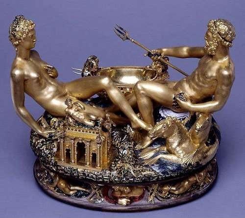 Benvenuto Cellini - Saliera di Francesco I - 1540-1543, ebano, oro e smalto, Kunsthistorisches Museum, Vienna