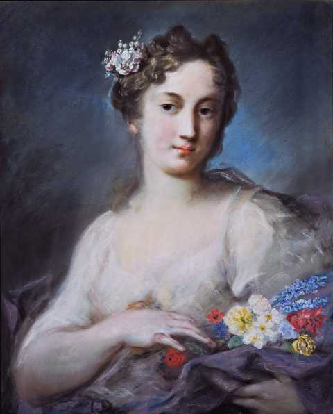 Rosalba Carriera - Ritratto di gentildonna in veste di allegoria della Primavera - 1725-1728, pastello su carta, M. Roy Fisher, New York