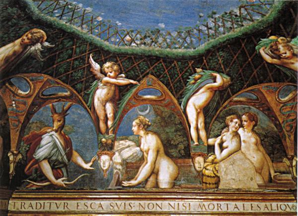 Parmigianino - Diana e atteone - 1524, affreschi, Stufetta di Diana e Atteone, Rocca Sanvitale, Fontanellato